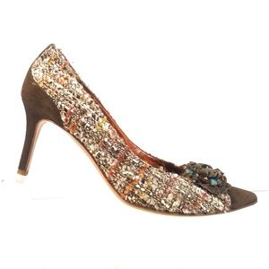Moschino Tweed Suede Pumps Brown Beaded Heels 38
